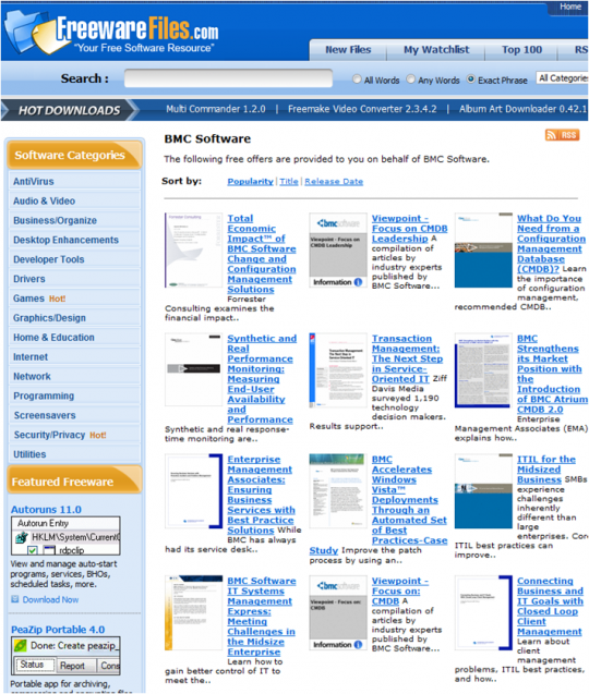 BMC Software on Freeware Files website (screenshot with BMC's content displayed)