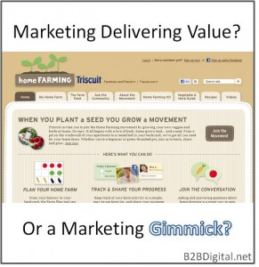 Text: Marketing Delivering Value? Or a Marketing Gimmick? Image: screenshot of HomeFarming.com