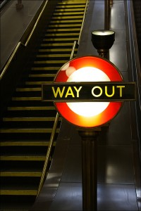 Staircase and Way Out Sign