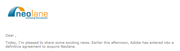 """Neolane Email starts with """"Dear ,"""""""