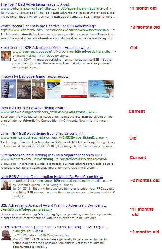 b2b advertising search results