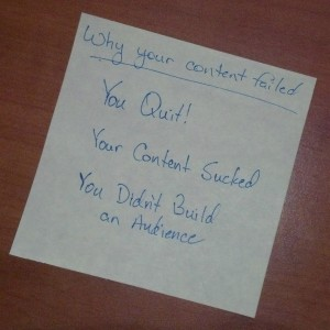 Why Your Content Failed. Handwritten list of reasons